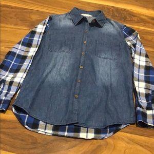 Bluenotes flannel and denim button down shirt